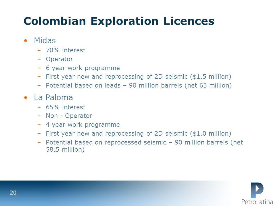 Colombian Exploration Licences