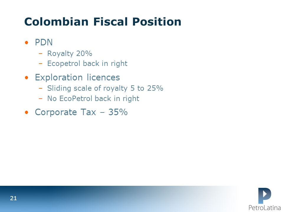 Colombian Fiscal Position