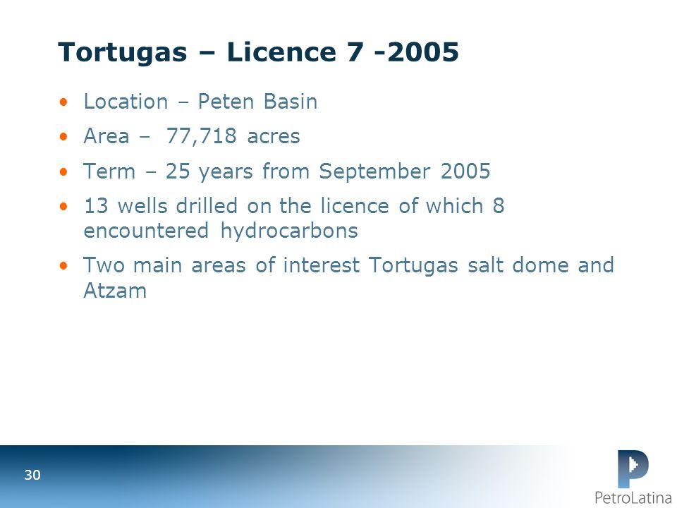 Tortugas – Licence 7 -2005 Location – Peten Basin Area – 77,718 acres