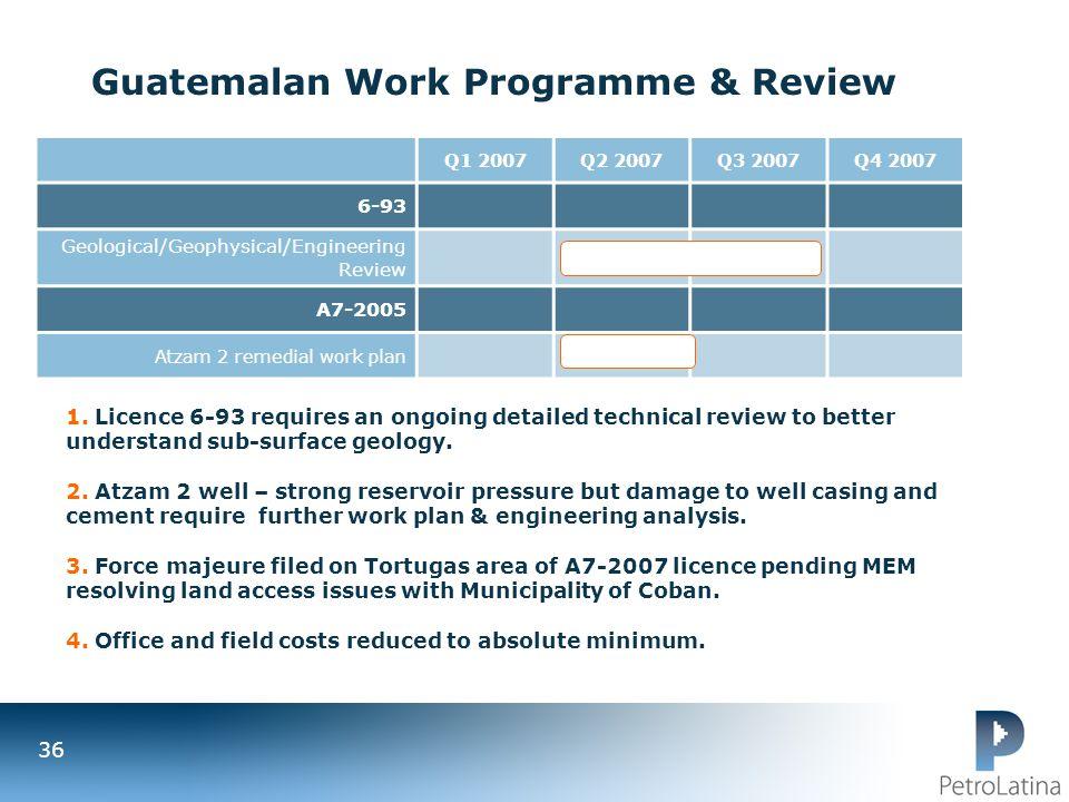Guatemalan Work Programme & Review