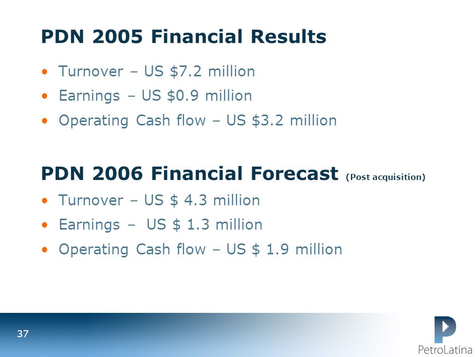 PDN 2006 Financial Forecast (Post acquisition)