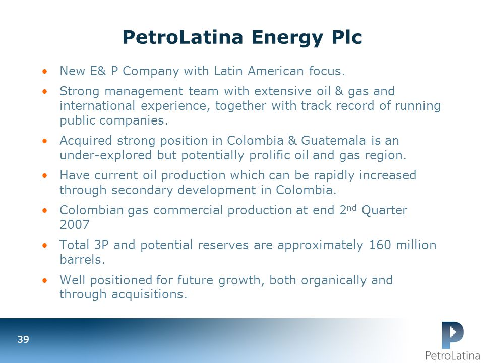 PetroLatina Energy Plc