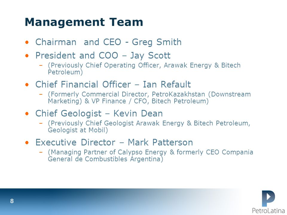 Management Team Chairman and CEO - Greg Smith
