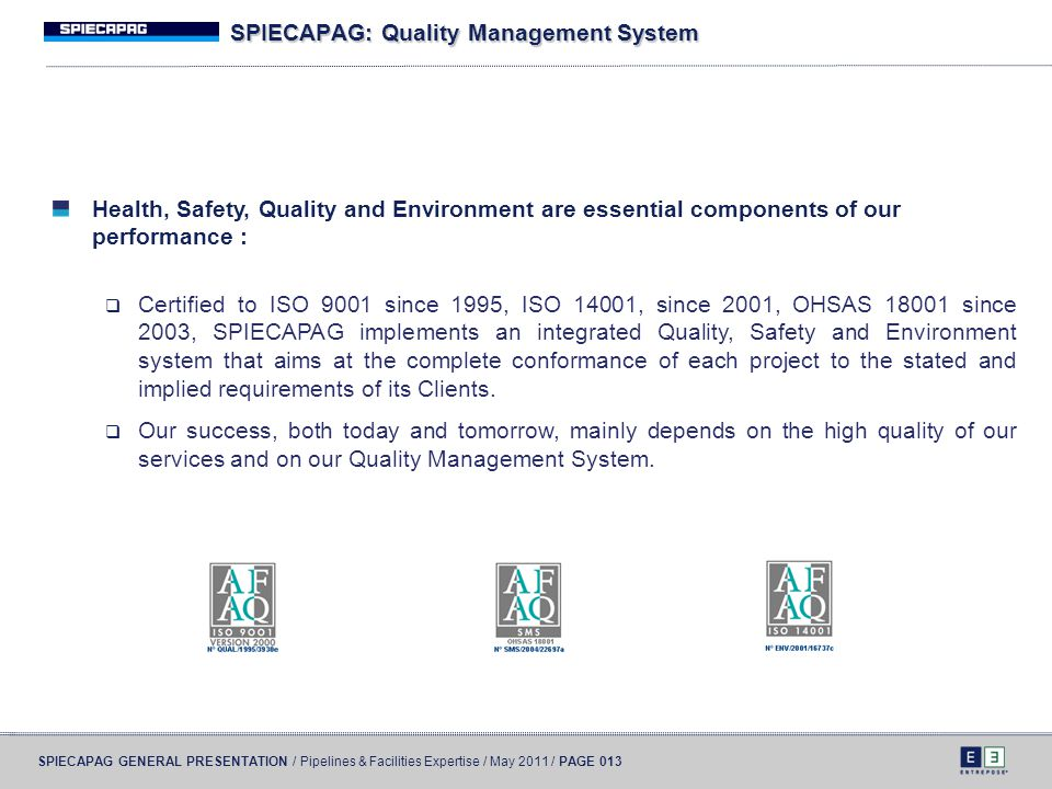 SPIECAPAG: Quality Management System