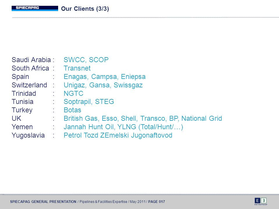 Saudi Arabia : SWCC, SCOP South Africa : Transnet