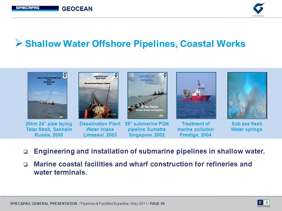 Shallow Water Offshore Pipelines, Coastal Works