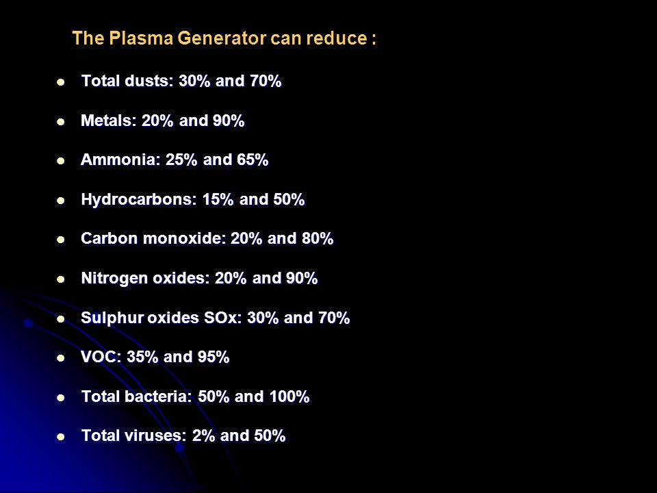 The Plasma Generator can reduce :