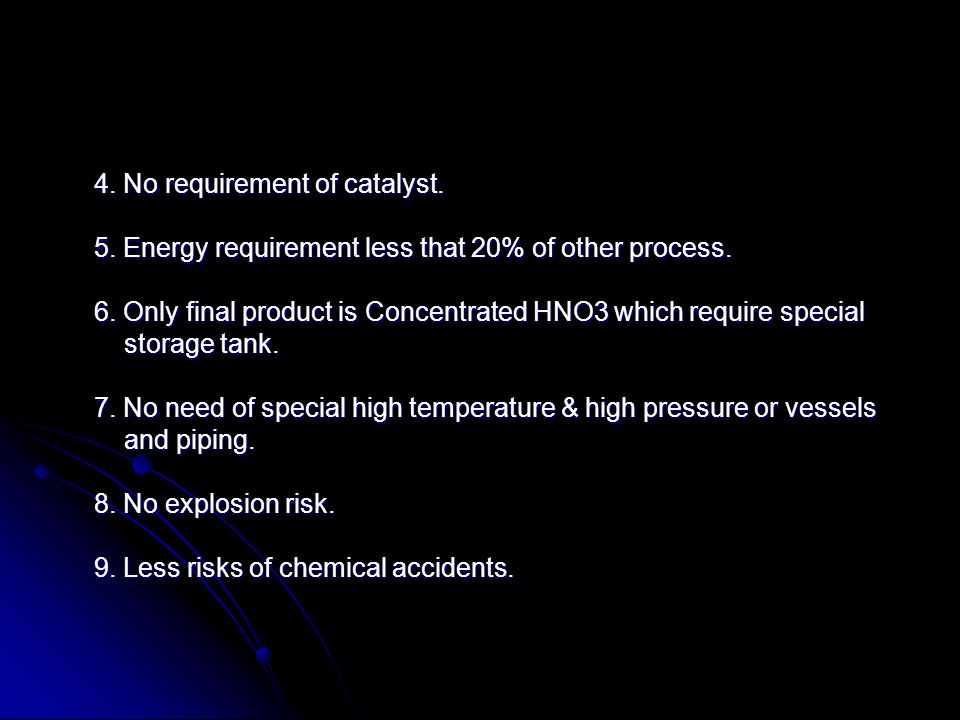 4. No requirement of catalyst.