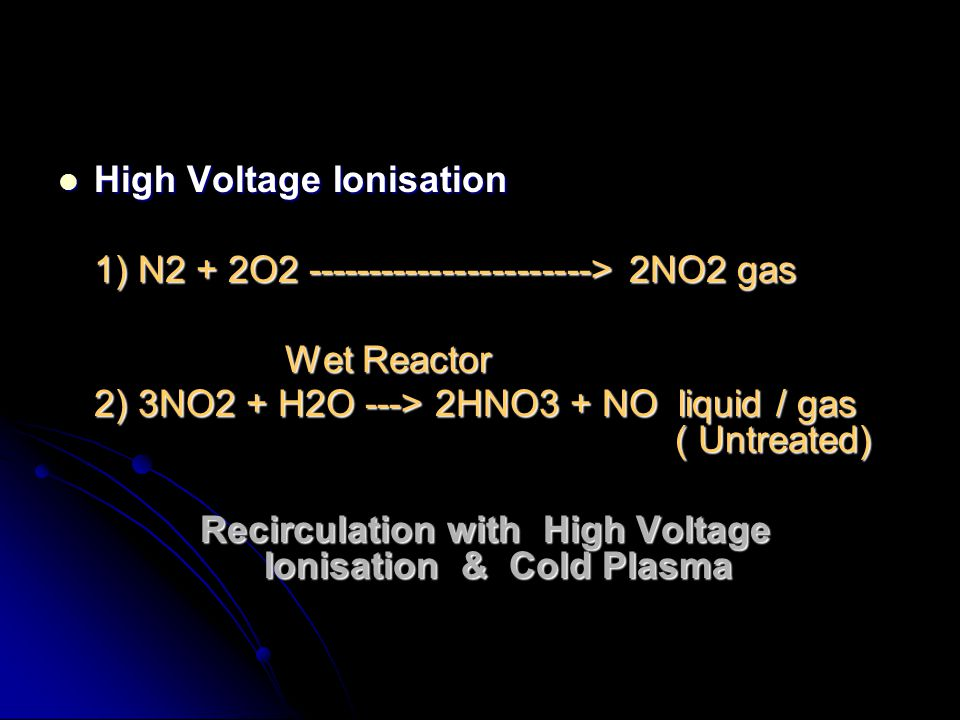 Recirculation with High Voltage Ionisation & Cold Plasma