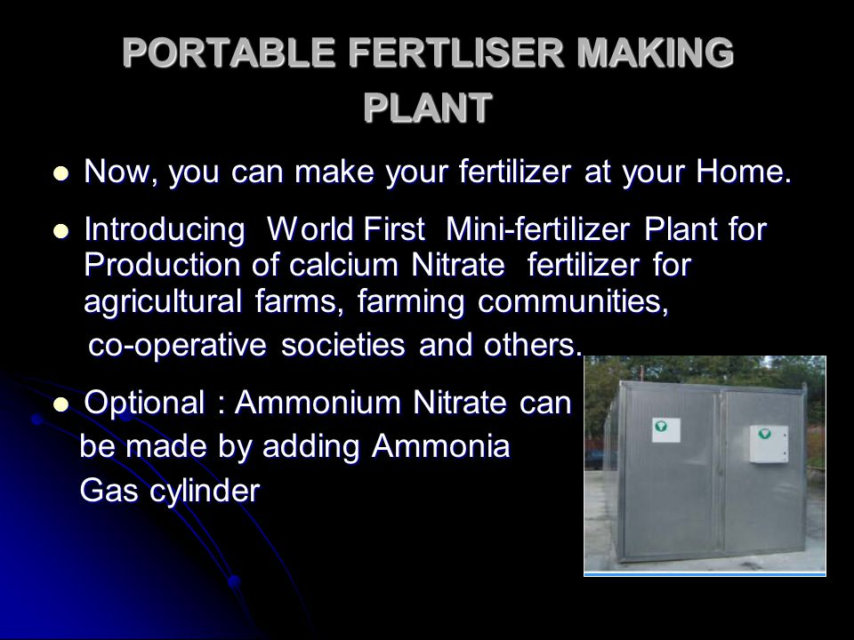 PORTABLE FERTLISER MAKING PLANT