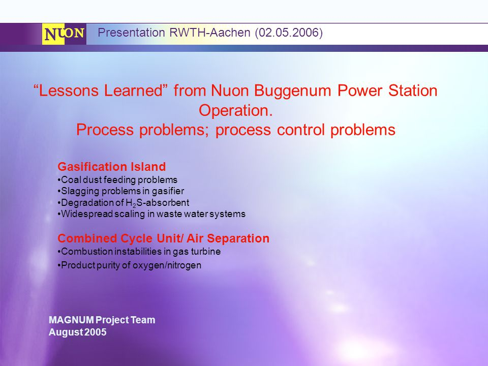 Lessons Learned from Nuon Buggenum Power Station Operation.