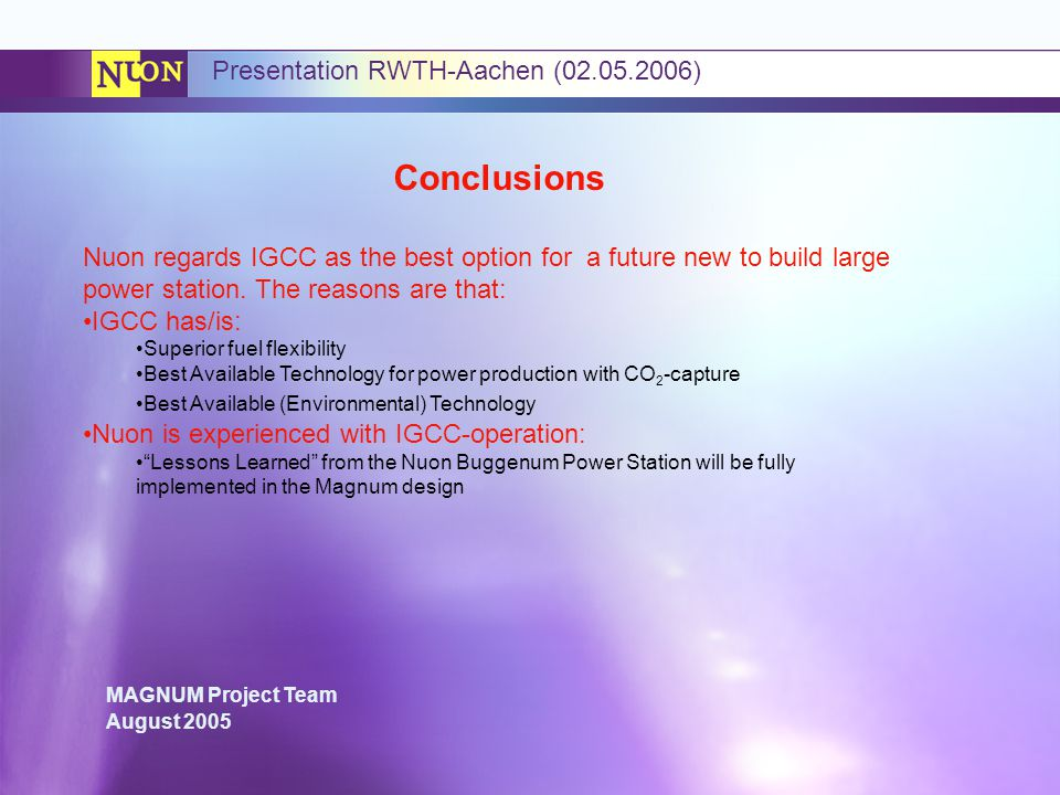 Conclusions Presentation RWTH-Aachen ( )