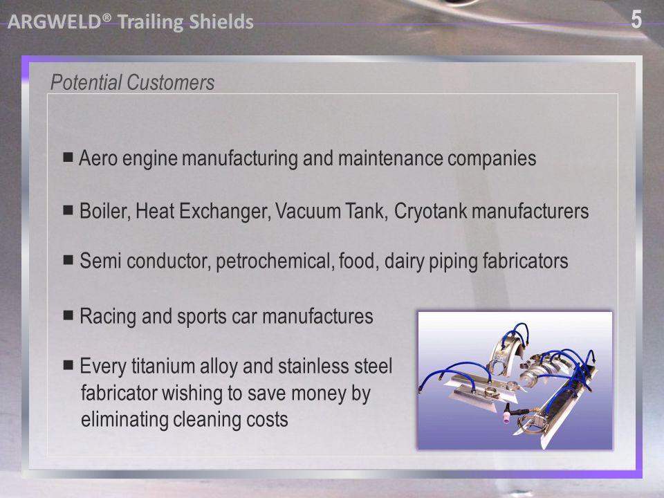 5 ARGWELD® Trailing Shields Potential Customers