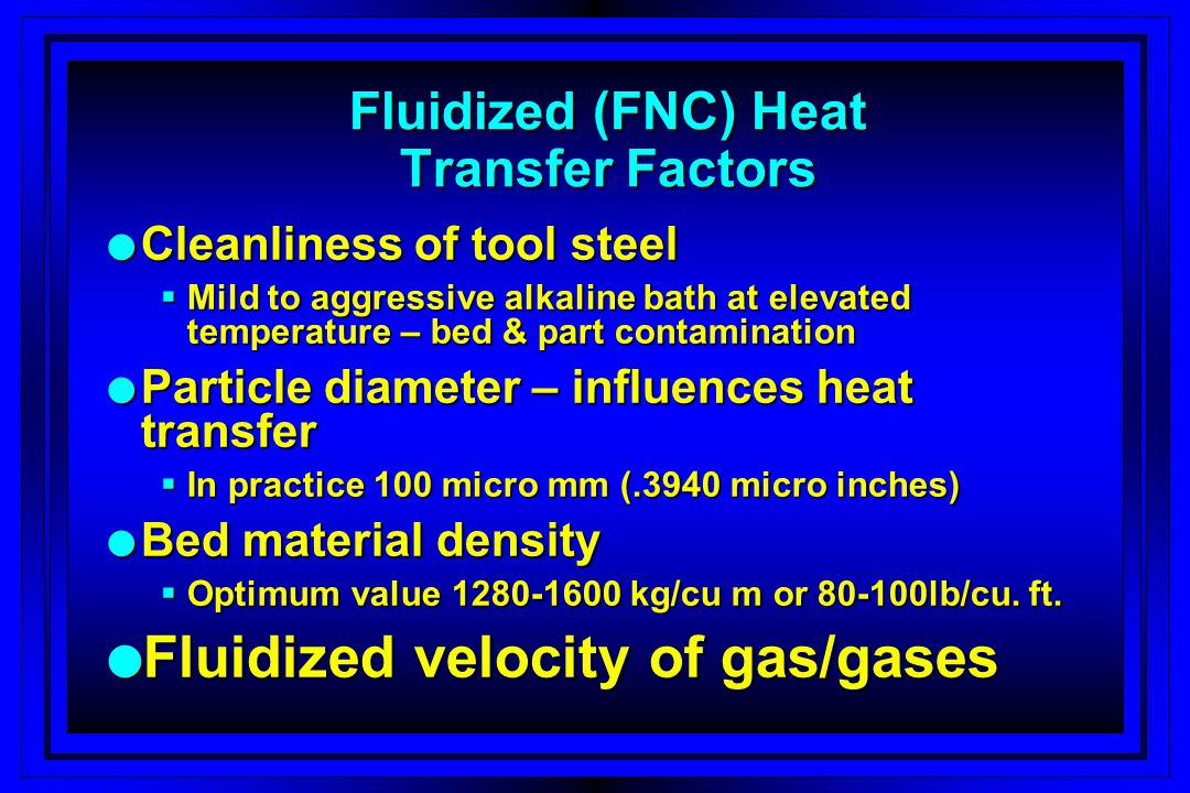 Fluidized (FNC) Heat Transfer Factors
