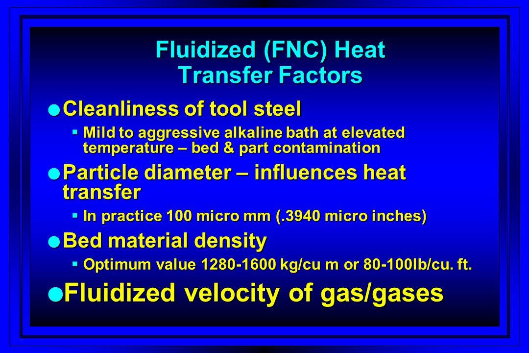 Fluidized (FNC) Heat Transfer Factors