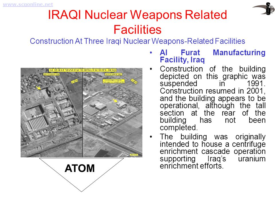 www.scgonline.net IRAQI Nuclear Weapons Related Facilities Construction At Three Iraqi Nuclear Weapons-Related Facilities.