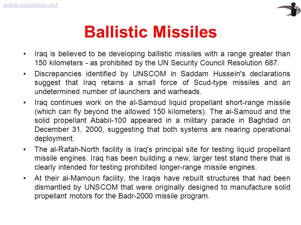 www.scgonline.net Ballistic Missiles.