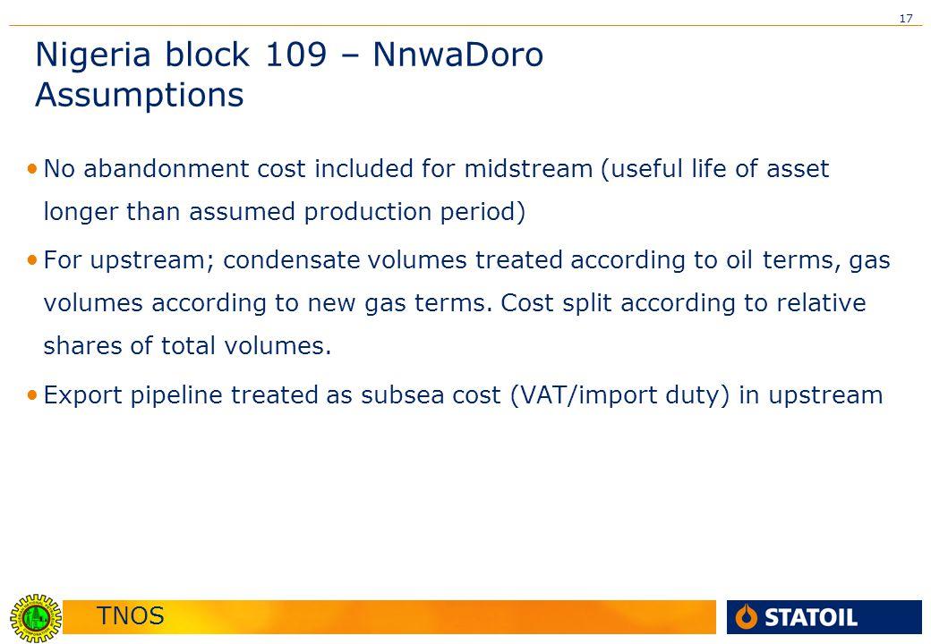 Nigeria block 109 – NnwaDoro Assumptions