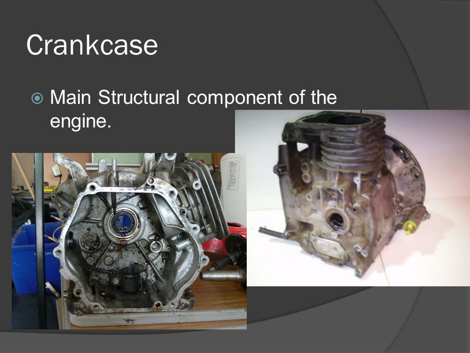 Crankcase Main Structural component of the engine.