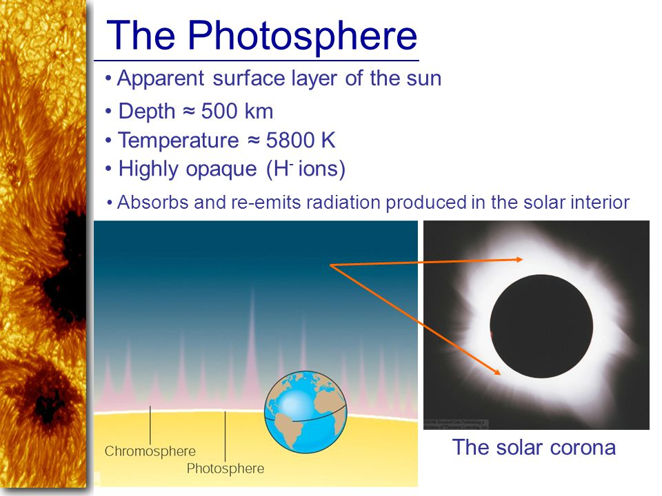 The Photosphere Apparent surface layer of the sun Depth ≈ 500 km