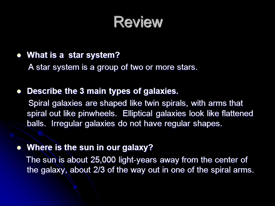 Review What is a star system