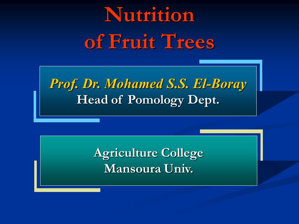 Nutrition of Fruit Trees