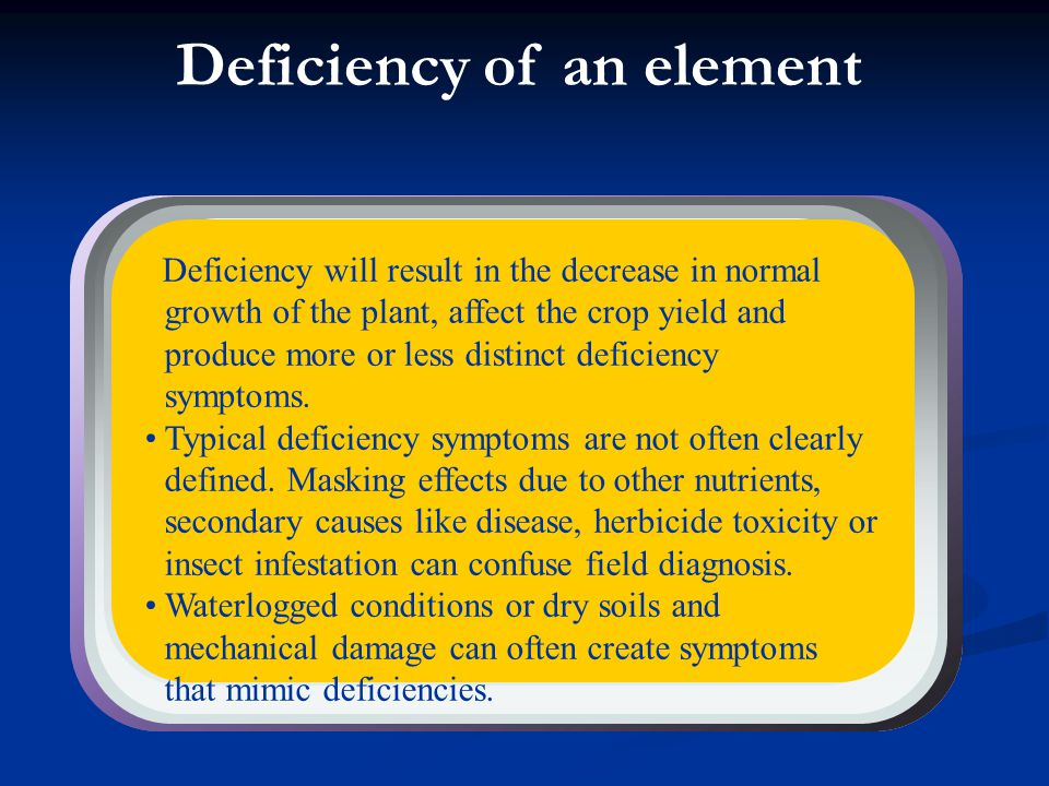 Deficiency of an element