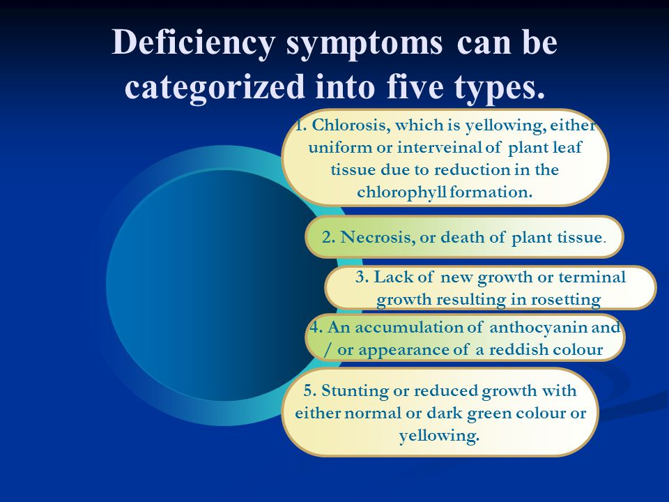 Deficiency symptoms can be categorized into five types.