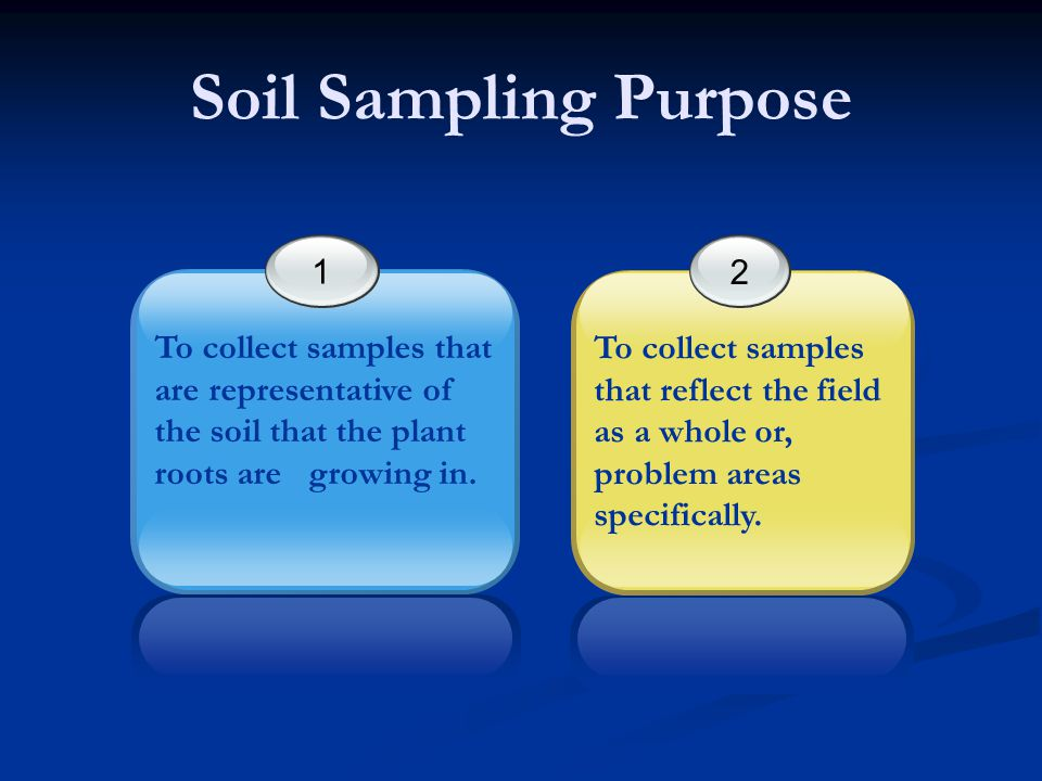 Soil Sampling Purpose 1. To collect samples that are representative of the soil that the plant roots are growing in.