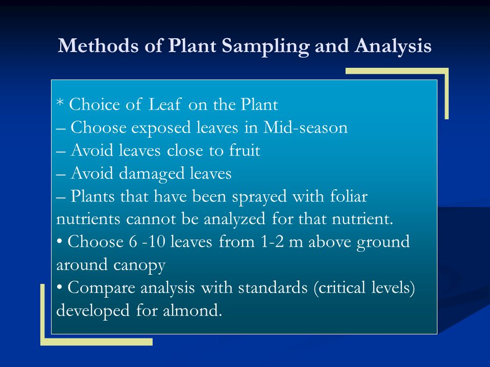 Methods of Plant Sampling and Analysis