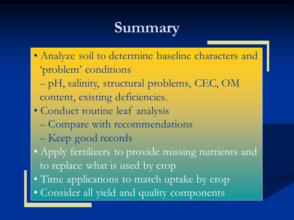 Summary • Analyze soil to determine baseline characters and 'problem' conditions.