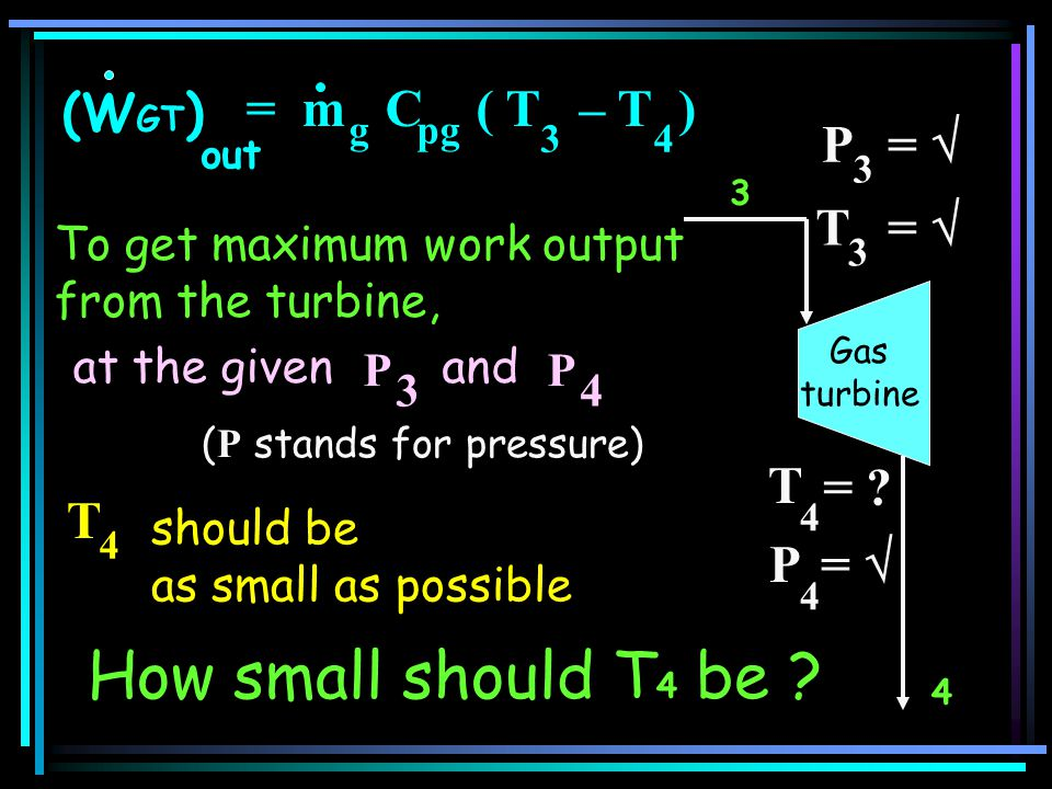 How small should T4 be = m C ( T – T ) (WGT) P =  T =  T = T P