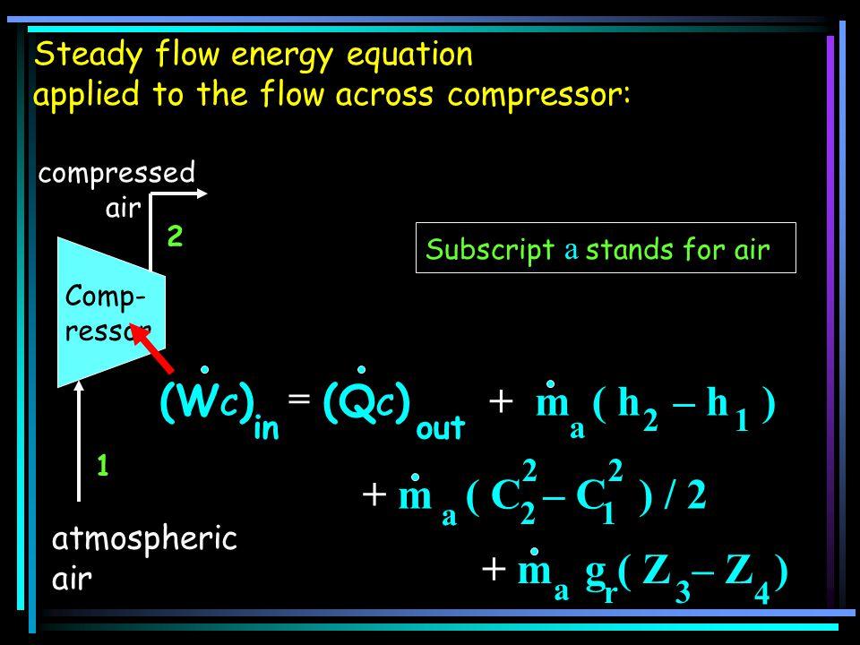 (WC) (QC) + m ( h – h ) + m ( C – C ) / 2 + m g ( Z – Z ) =