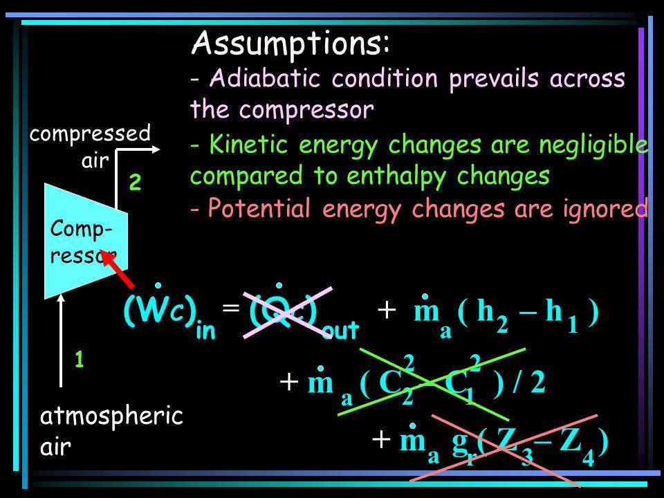 Assumptions: (WC) (QC) + m ( h – h ) + m ( C – C ) / 2 + m g ( Z – Z )
