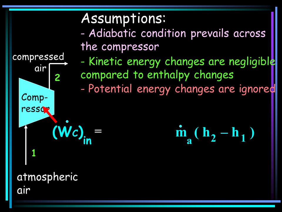 Assumptions: (WC) + m ( h – h ) =
