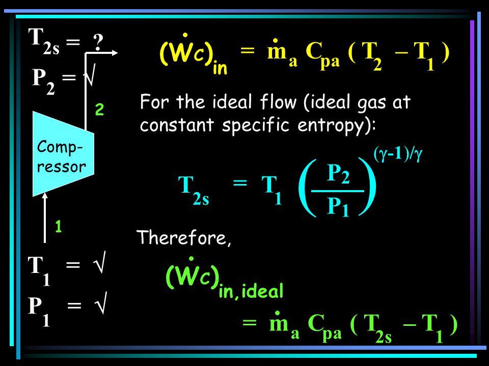 ) ( T = (WC) = m C ( T – T ) P =  T = P T =  (WC) = m C ( T – T )
