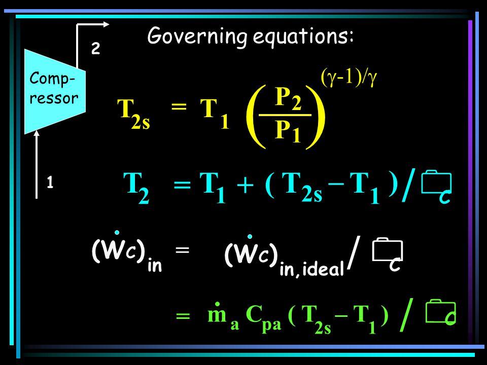 ( ) / / /    T = ( T + – ) P = T 2 1 2s (WC) = = m C ( T – T )