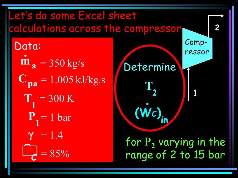 Let's do some Excel sheet calculations across the compressor