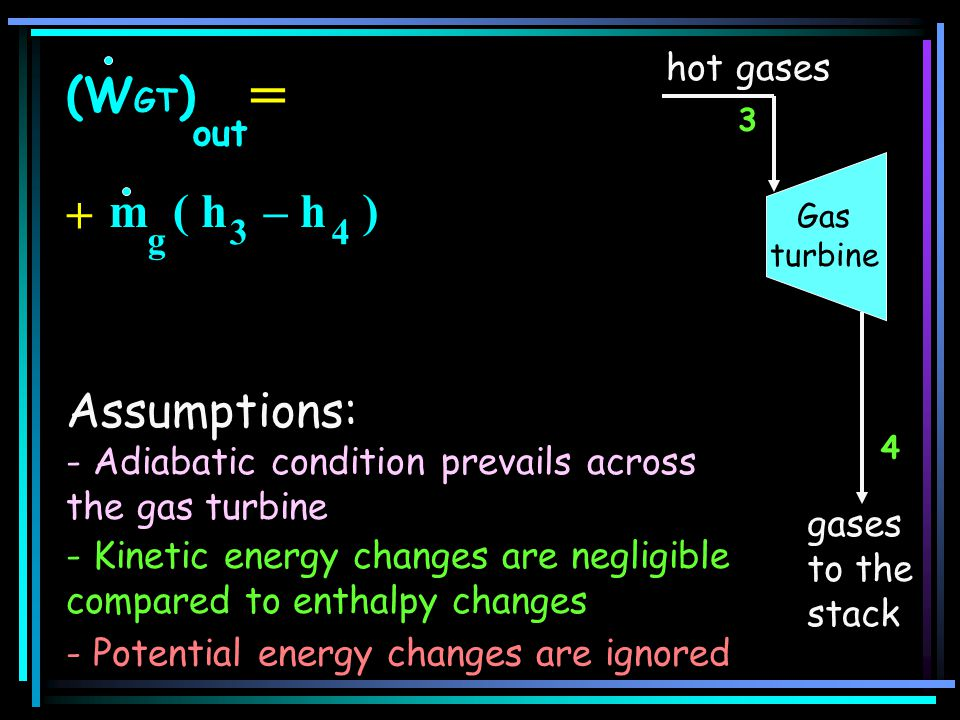 = (WGT) = m ( h – h ) + Assumptions: hot gases out 3 4 g