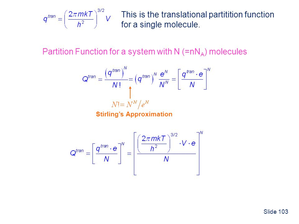 This is the translational partitition function for a single molecule.