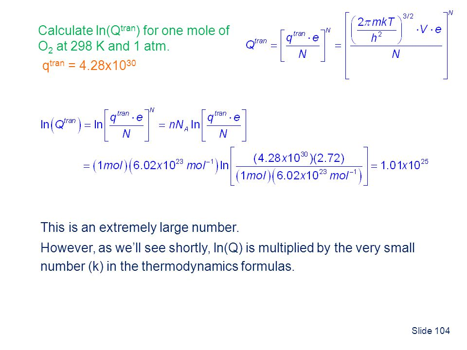Calculate ln(Qtran) for one mole of