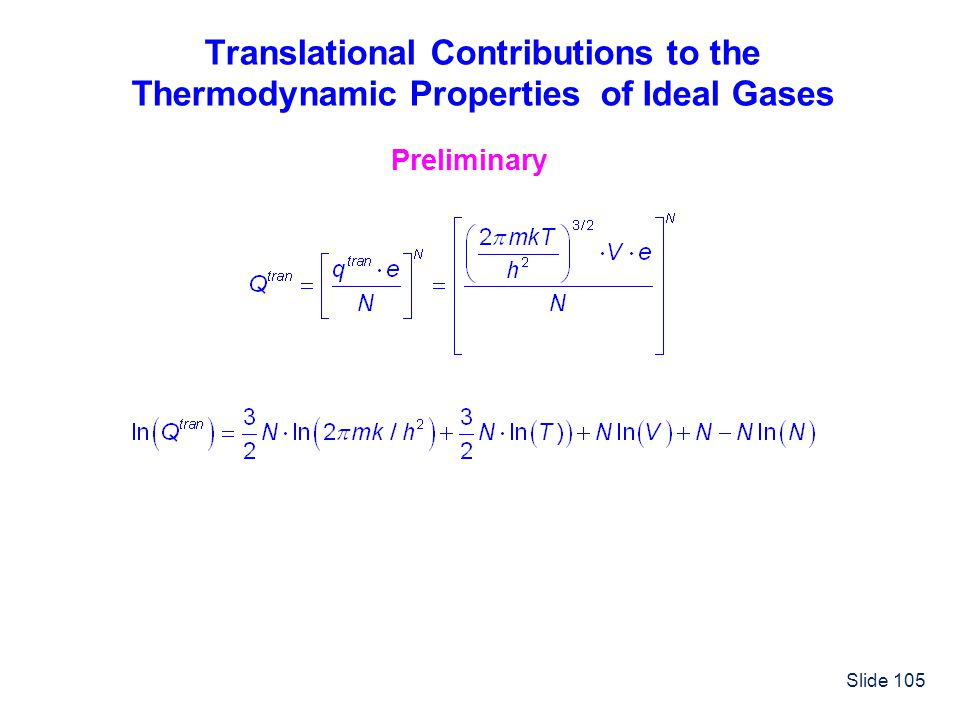 Translational Contributions to the Thermodynamic Properties of Ideal Gases
