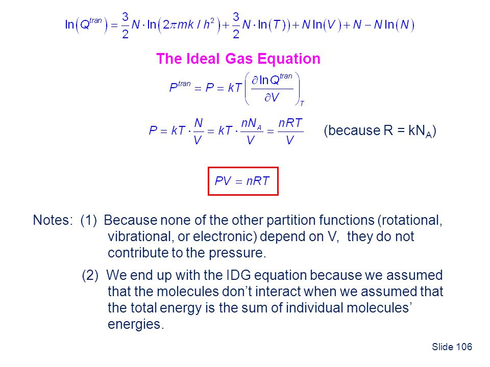 The Ideal Gas Equation (because R = kNA)