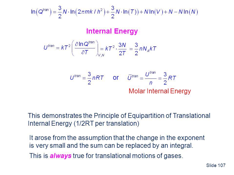 Internal Energy or Molar Internal Energy