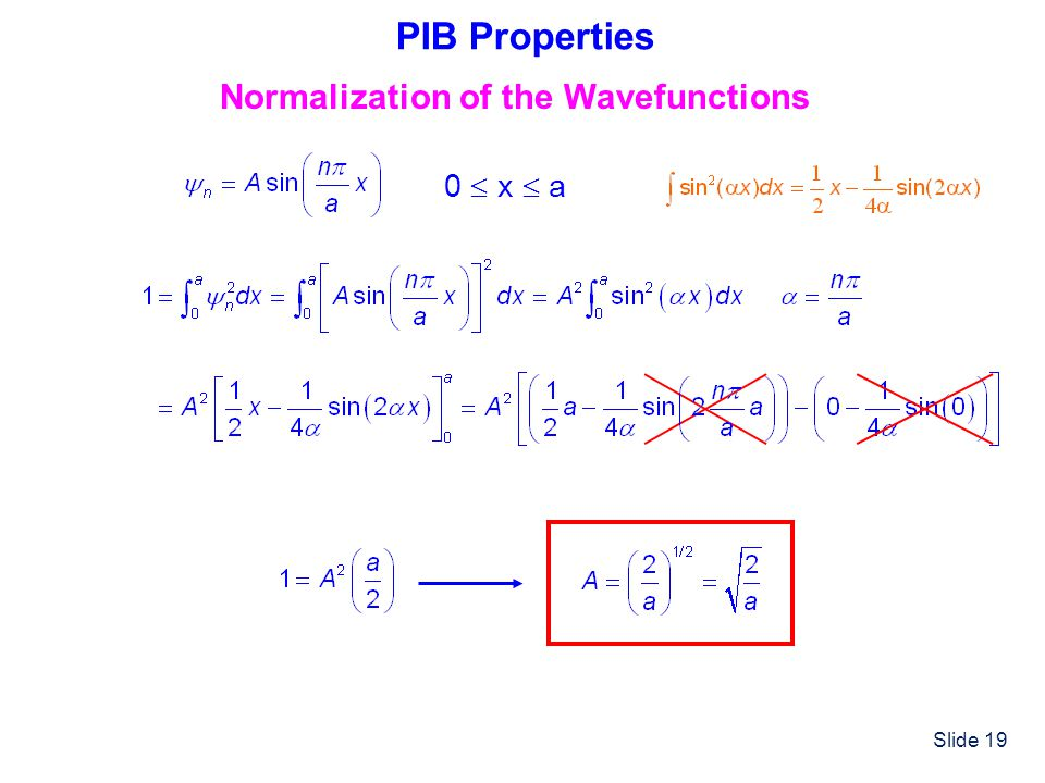 PIB Properties Normalization of the Wavefunctions 0  x  a