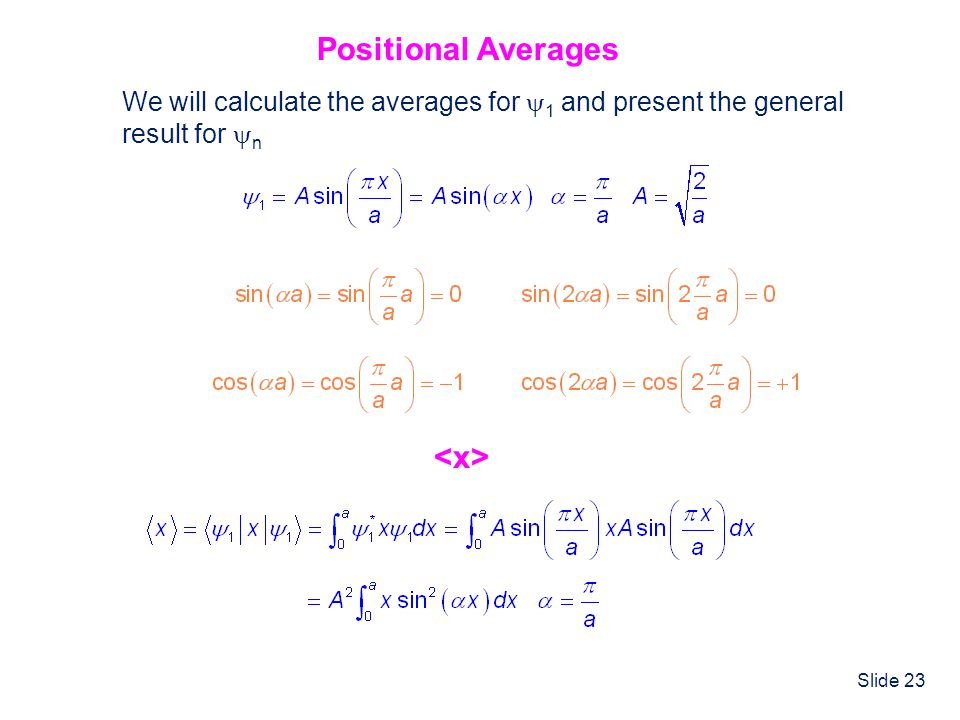Positional Averages <x>