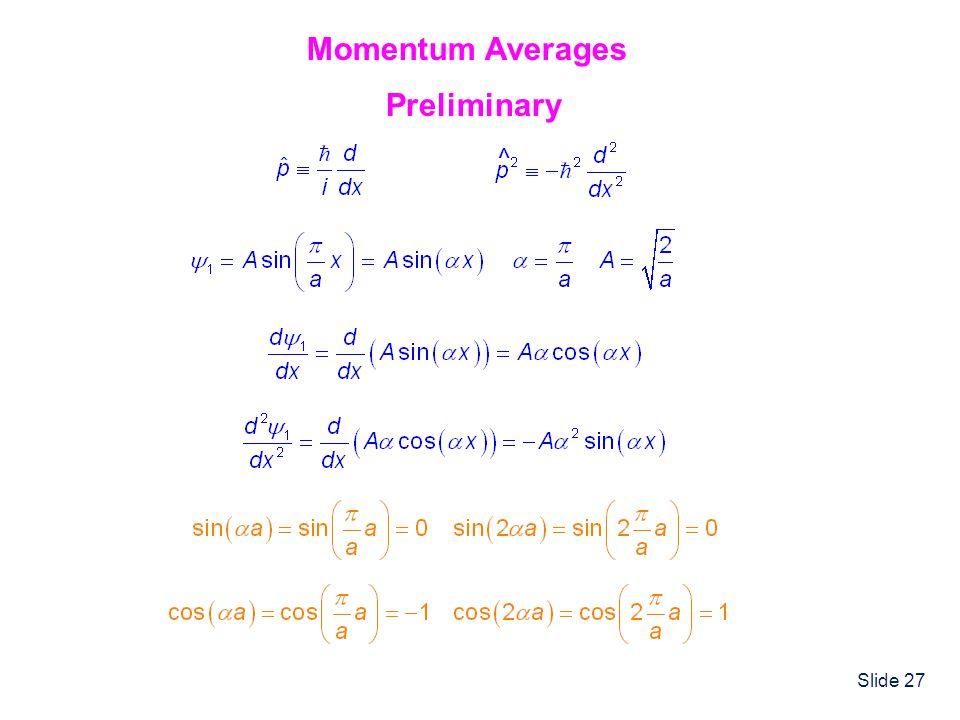 Momentum Averages Preliminary ^