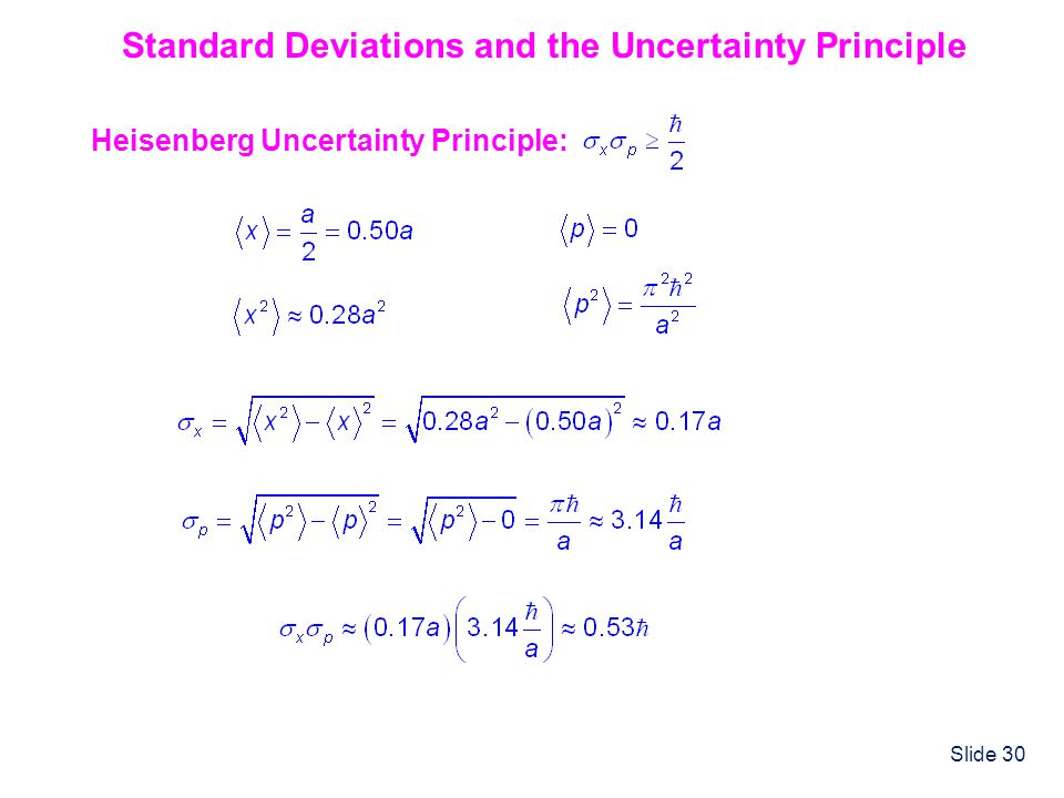 Standard Deviations and the Uncertainty Principle