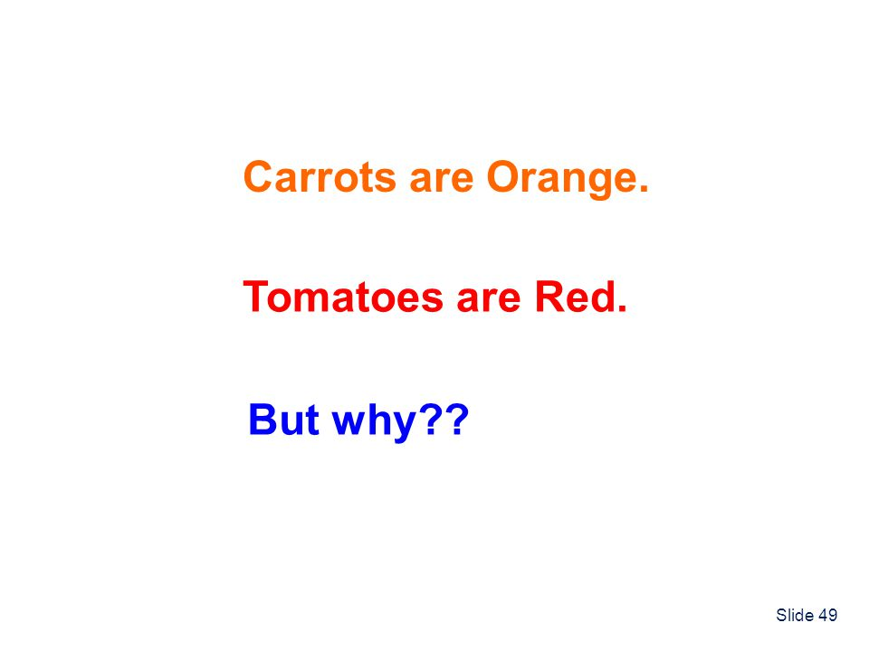 Carrots are Orange. Tomatoes are Red. But why