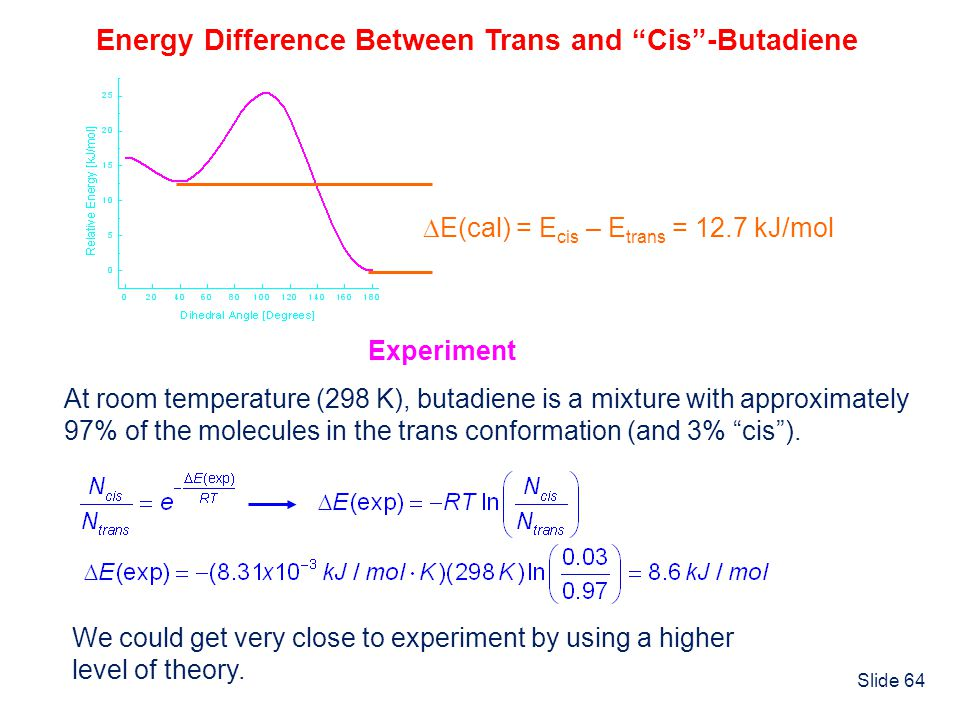 Energy Difference Between Trans and Cis -Butadiene